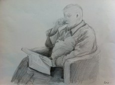 Drawing from 7th week of classes. Took an hour. Chap in chair.