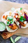 Bright, healthy and vegetarian buffalo cauliflower tacos