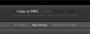 Adobe Lightroom Import Options