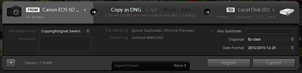 Adobe Lightroom Minimal Import Dialog