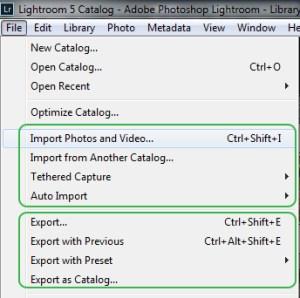 Adobe Lightroom file menu