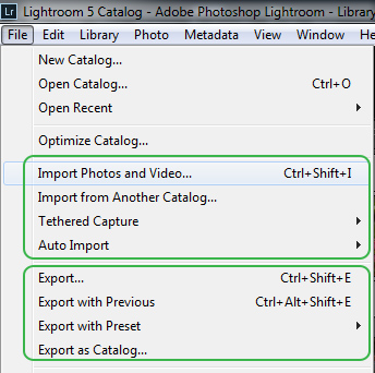 Adobe Lightroom file menu