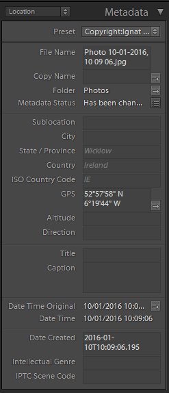 Adobe Lightroom Map Metadata Panel