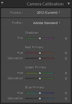 Lightroom Develop Camera Calibration Panel