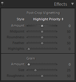 Lightroom Develop Effects Panel