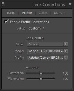 Lightroom Develop Lens Corrections Panel