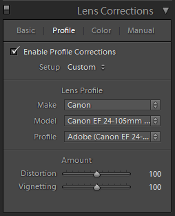 Lightroom Develop Lens Corrections Panel