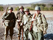 Pvt. Chuck Fraley, S-Sgt. Charlie Noble, Cpl. Tyler Owens, Pvt. Aaron Clark, 120th IR, 30th ID, Jan. 1945