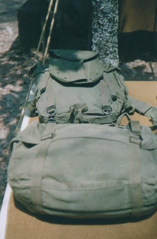 M1945 field pack and kit for a Korean War display.