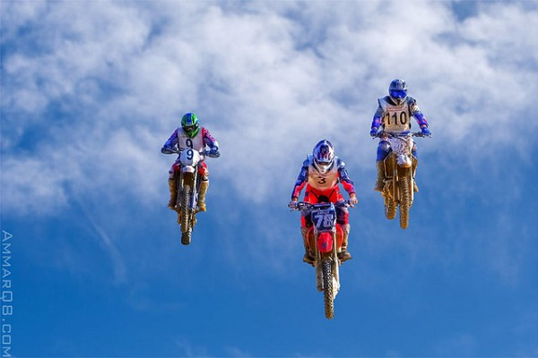 3 bikers on the sky