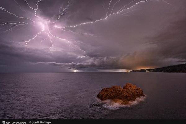 lightning above seascape