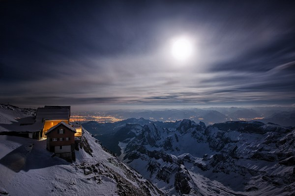 mountain station in full moon