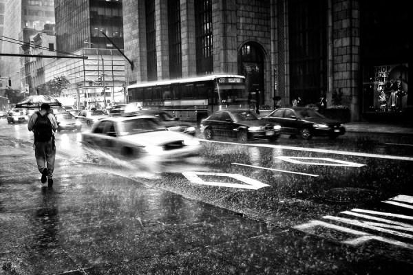 raining in newyork street