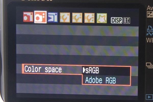 Color space menu on canon DSLR