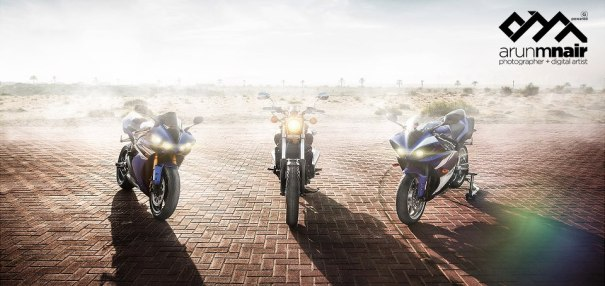 photo of three sports bikes