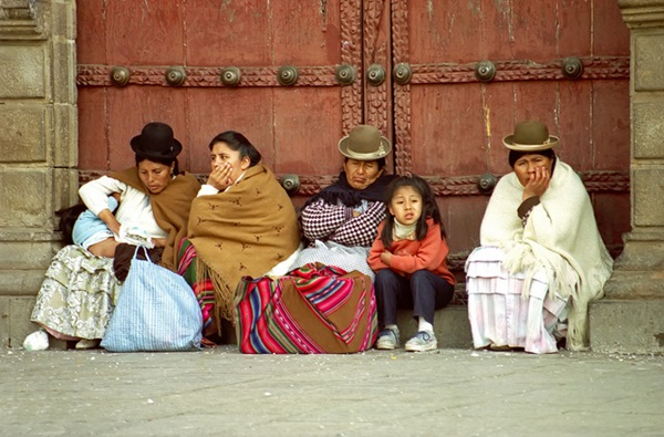 Women and children around the Cathedral dressed in traditional clothes. La Paz, Bolivia -- travel photography
