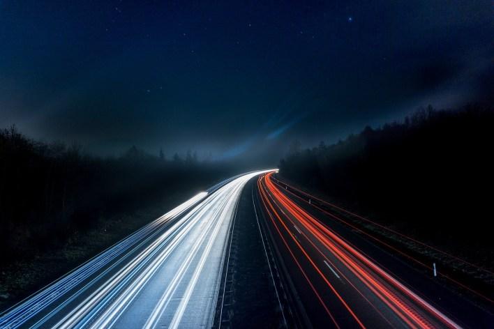 Traffic light trail night photography