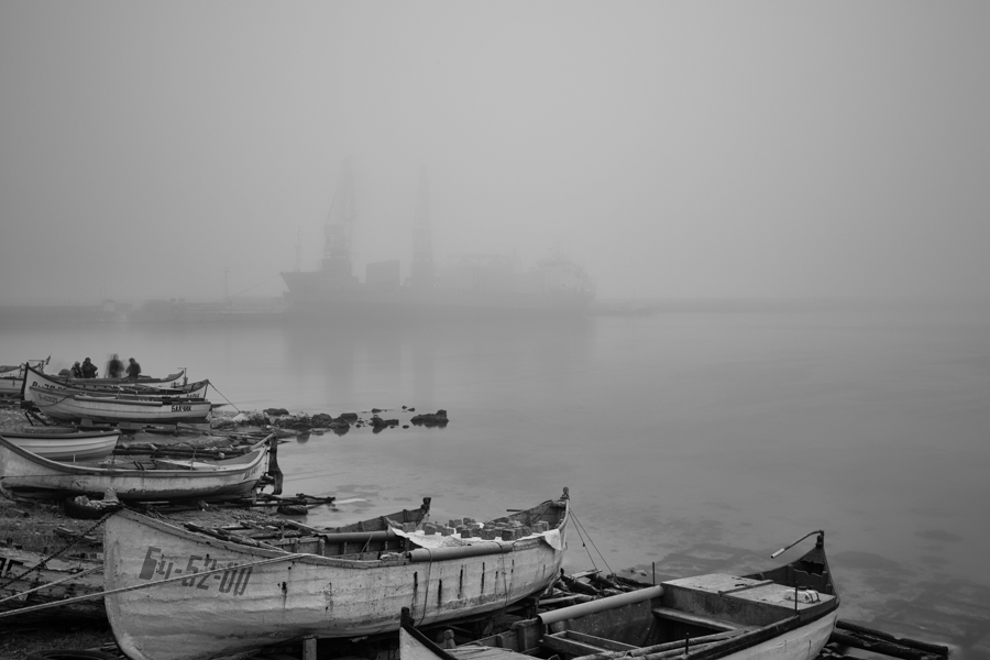 Тhe Port of Balchik in fog
