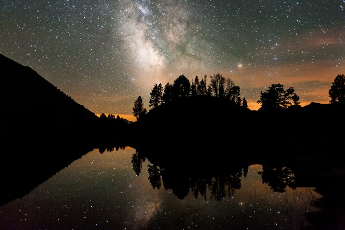 Milky way reflected in a mountain lake. Pyrénées, France