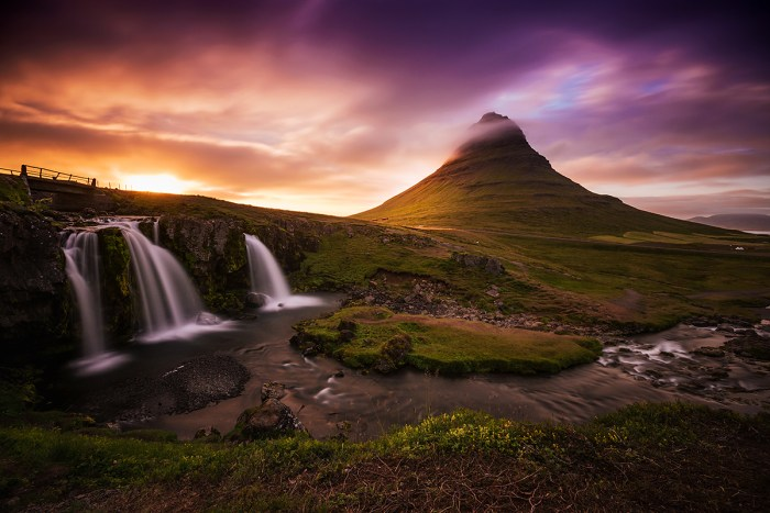 Midnight Sunset at KirkJufell in Iceland