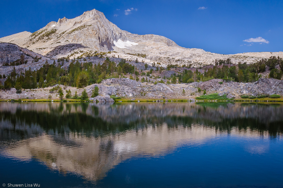 North Peak reflecting in Gemstone Lake, at Twenty Lakes Basin in the Sierra Nevada.
