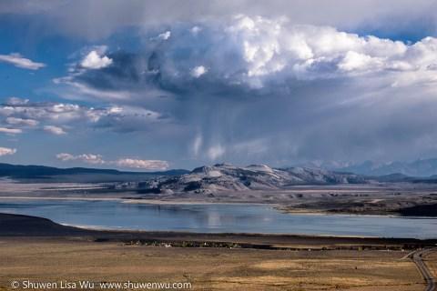 Downpour over Crater Mountain, Mono Lake, CA.
