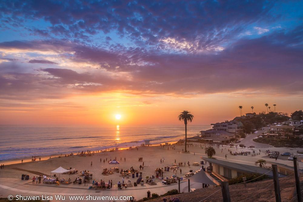 Sunset at Moonight Beach, Encinitas, California. June 2016.
