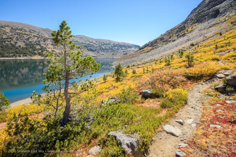 Looking back along Saddlebag Lake, 20 Lakes Basin, Hoover Wilderness, California, September 2016.