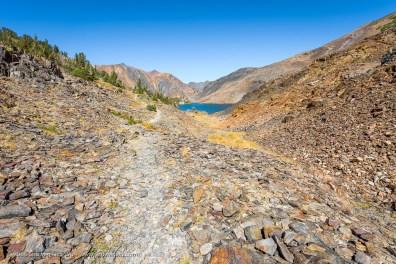 Nearing Odell Lake at 20 Lakes Basin, Hoover Wilderness, California, September 2016.