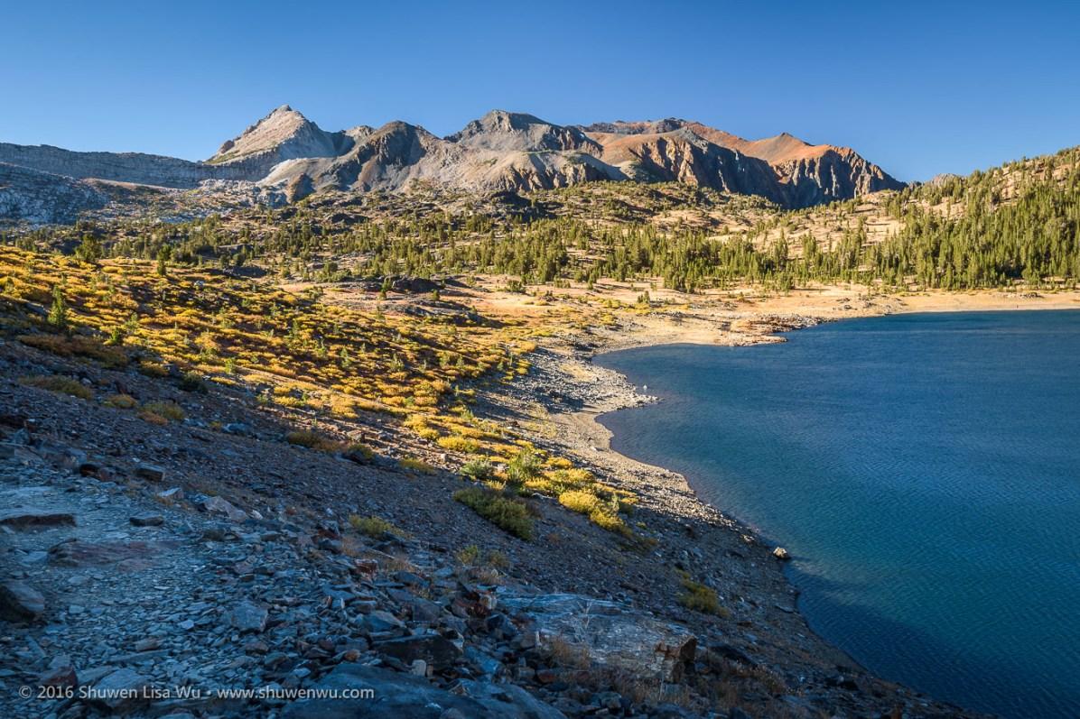 Looking back to 20 Lakes Basin from Saddlebag Lake, Hoover Wilderness, California, September 2016.