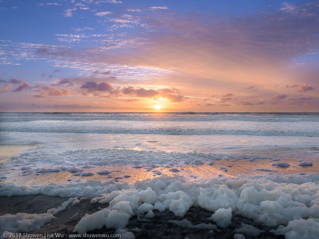 Sunset with seafoam, South Cardiff State Beach, San Diego, California. January 2017.
