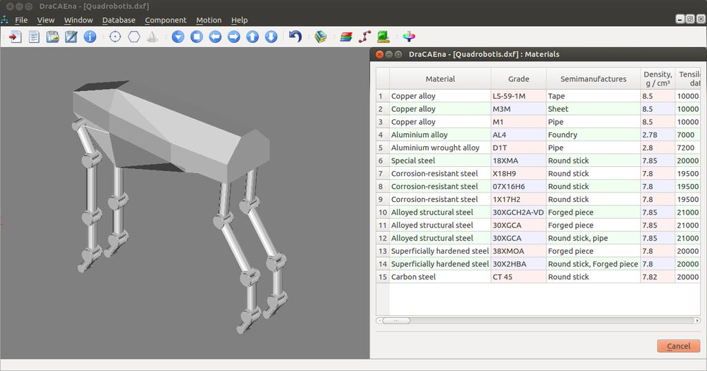 Exploration of the _Quadrobotis_ virtual model with help of Automated system _DraCAEna_