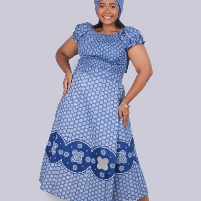 South African Shweshwe Dress for Traditional Ceremonies (1)