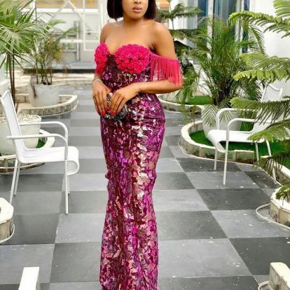 Trendy Ankara Lace Dresses Styles 2021 (8)