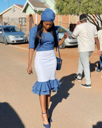 Trendy African Traditional Shweshwe Dress 2021 (11)