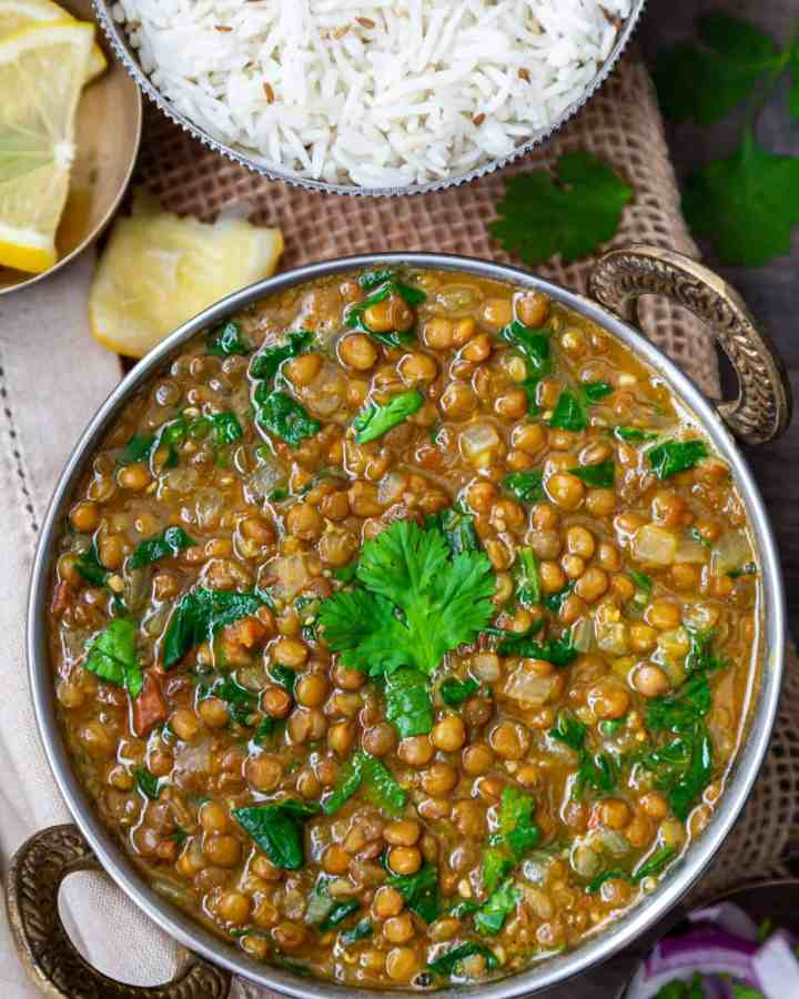 Whole Masoor Dal Palak