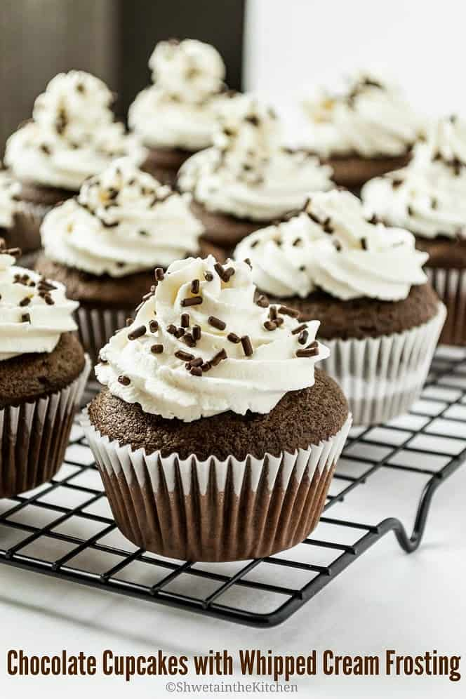 Chocolate Cupcakes With Whipped Cream Frosting Shweta In
