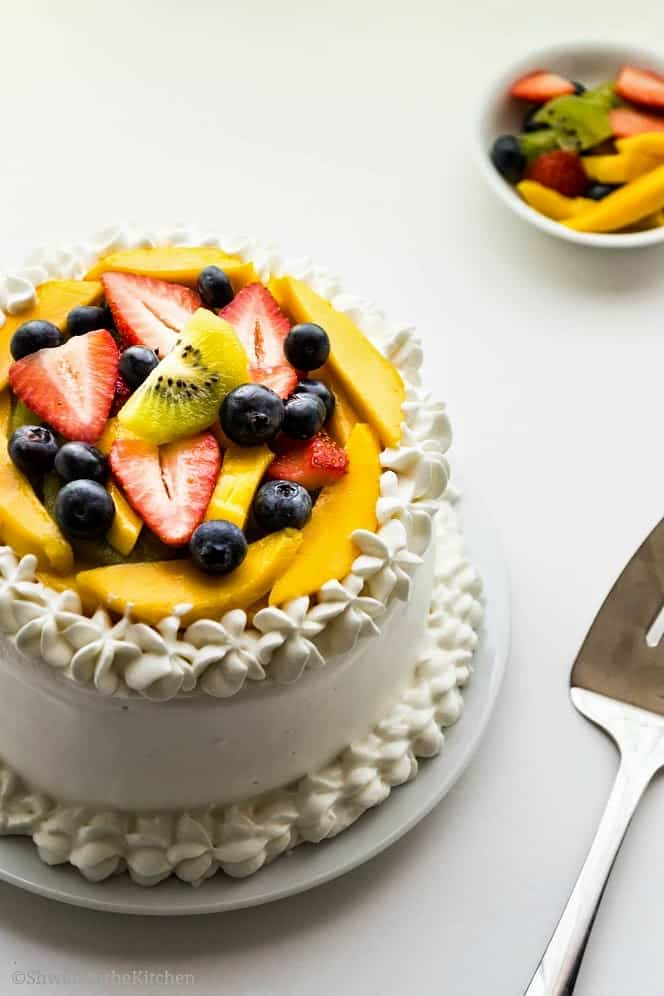 Vanilla Sponge Cake with Whipped Cream Frosting and Fresh Fruits