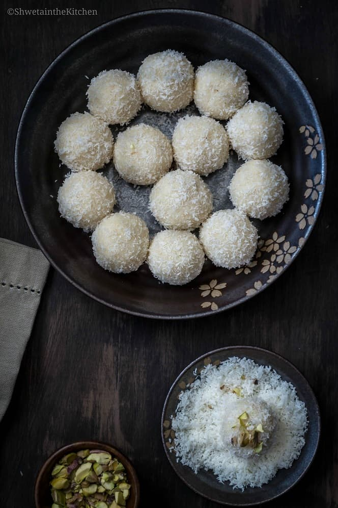 Easy Coconut Ladoo recipe using condensed milk