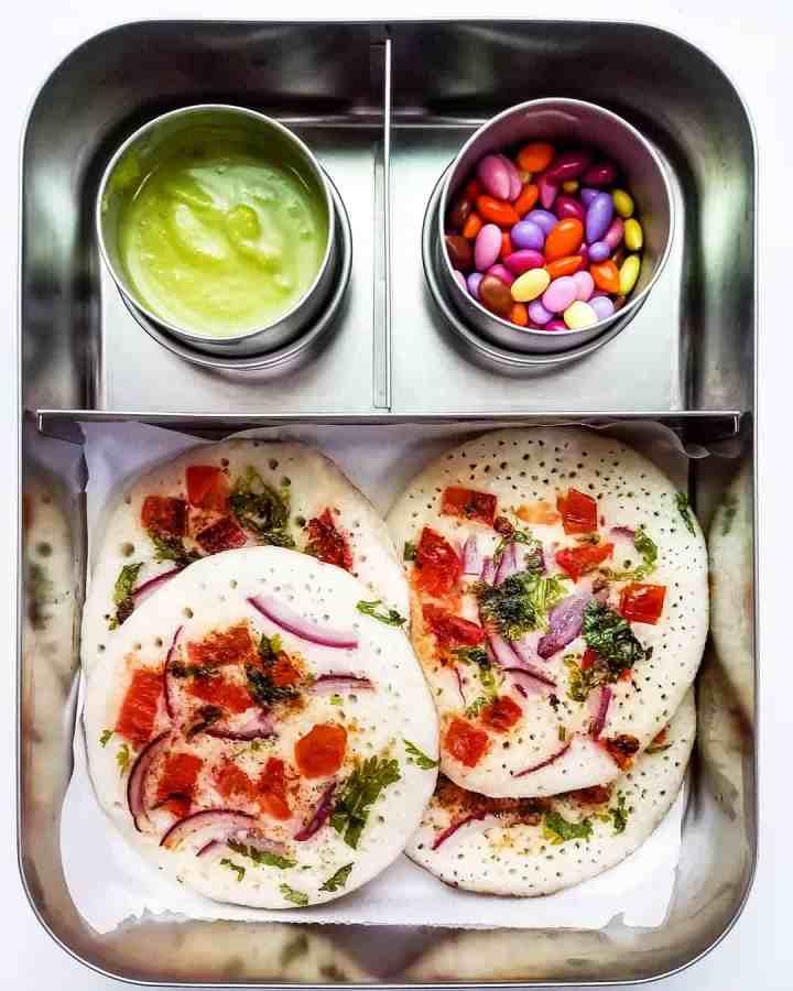School Lunch - Onion Tomato Uttapam (Indian pancakes)