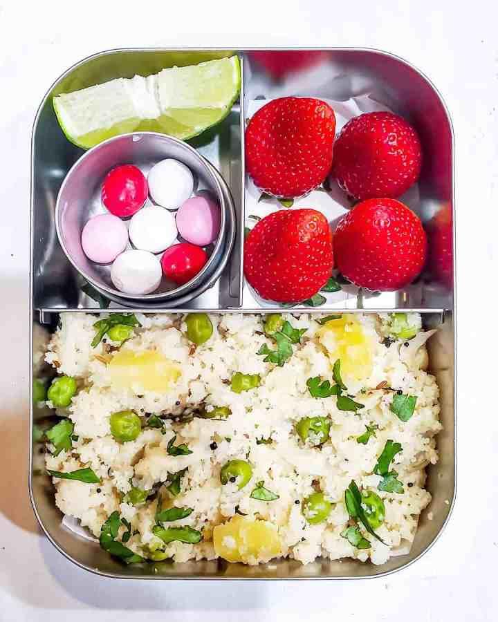 Upma, Strawberries, M&M's