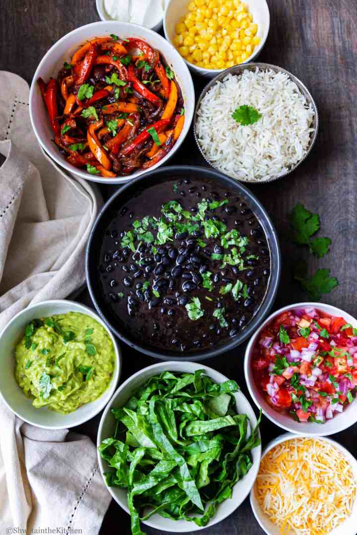 All the fixins for Veg burrito bowl