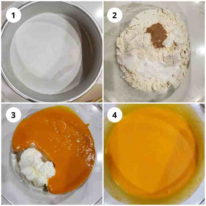 To make cake Step 1 - Get the pan, dry ingredients and wet batter ready