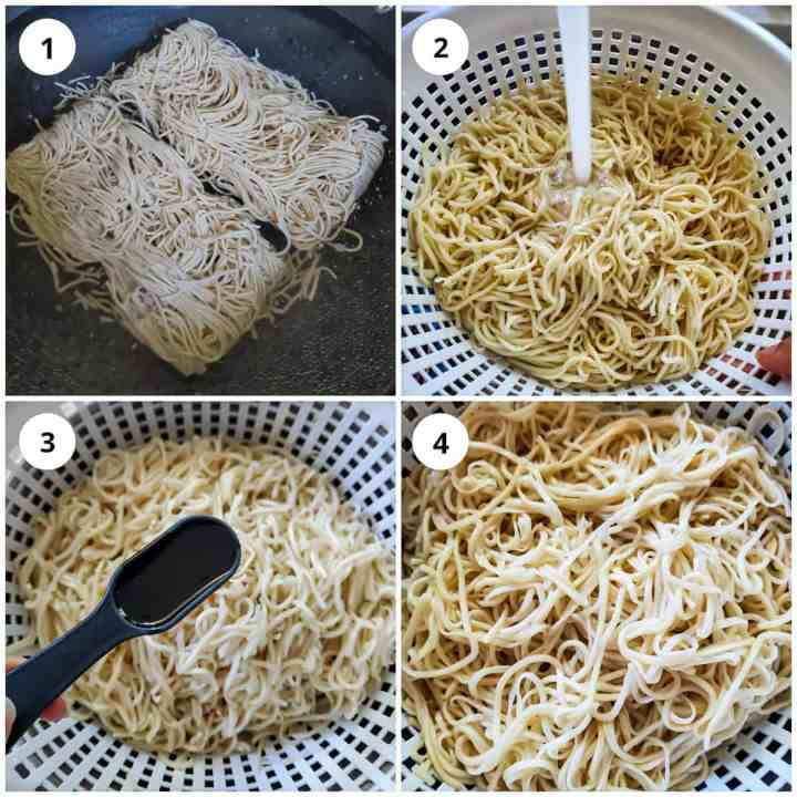 Step wise pic of boiling, straining noodles and coating with oil