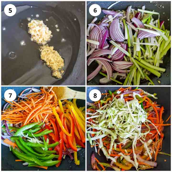 Step wise pic for making hakka noodles recipe, adding aromatics and veggies