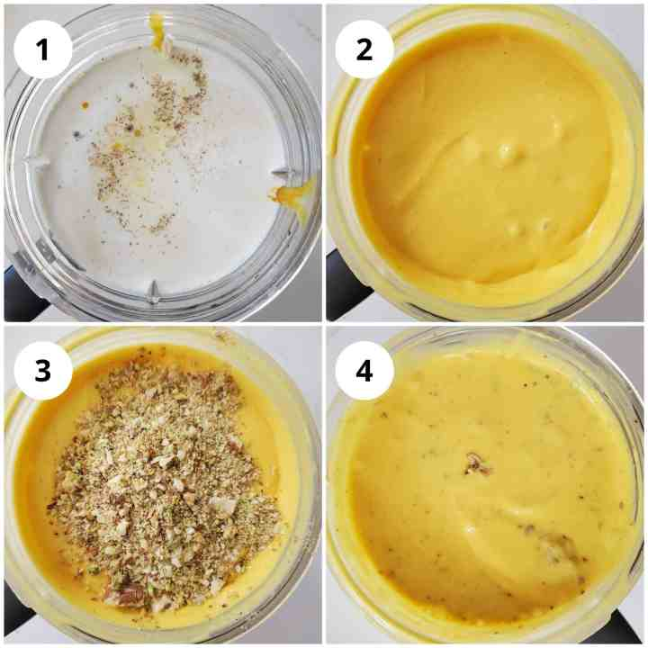 Steps showing blending of all ingredients for kulfi