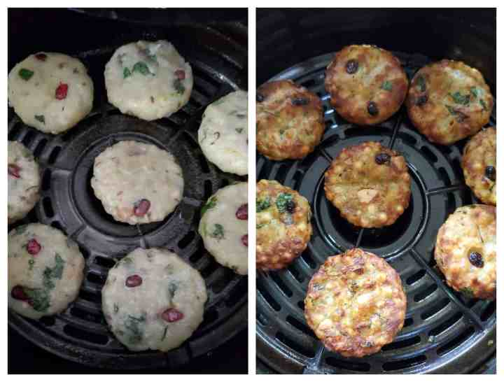 Sabudana vada lined in air-fryer before and after cooking.