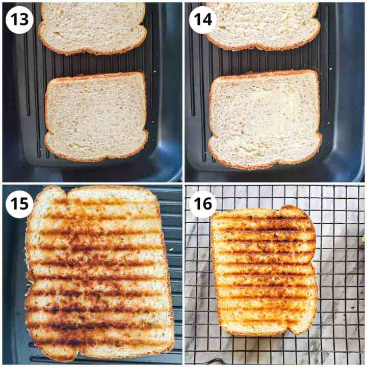 Grilling the creamy vegetable sandwich until crispy and golden brown.