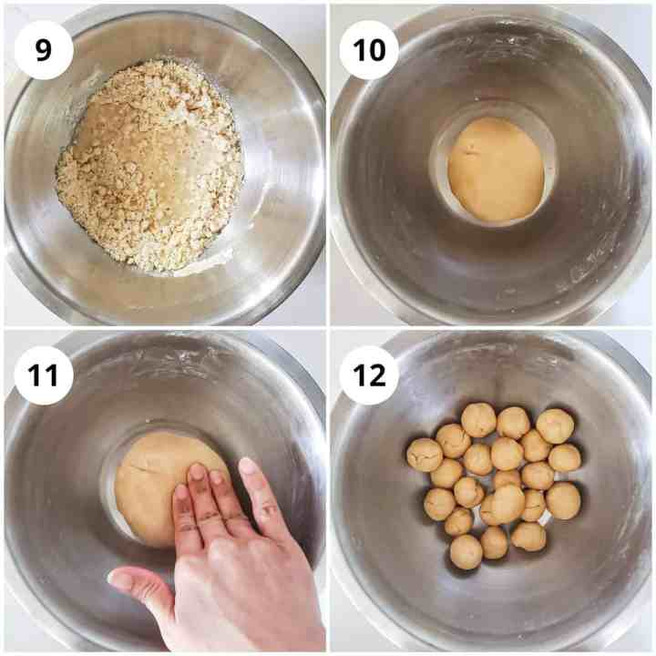 Steps for kneading the dough and making balls.