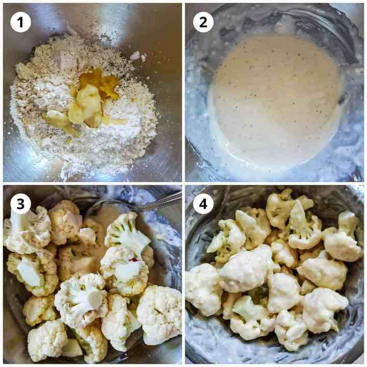 Coating the cauliflower florets in the flour batter